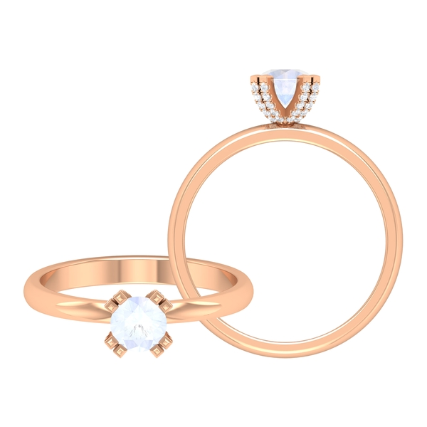 1/4 CT Solitaire Moonstone and Diamond Engagement Ring in Double Prong Setting