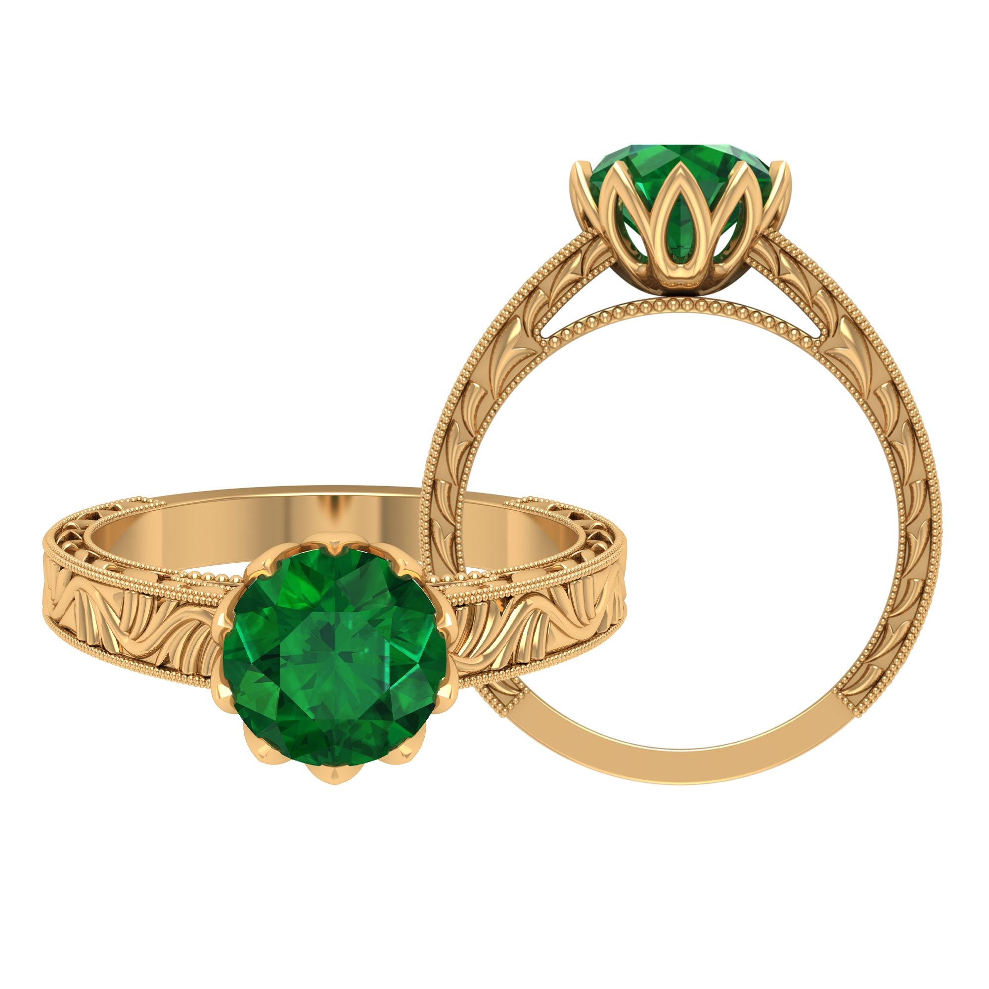 8 MM Lotus Basket Set Round Cut Emerald Solitaire Engraved Ring