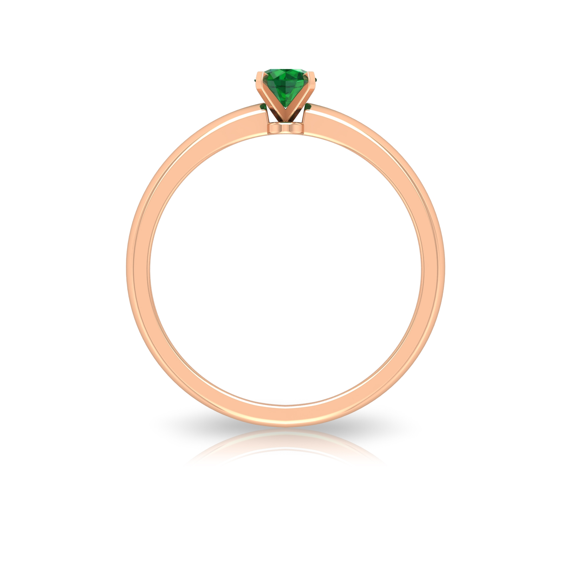 4 MM Round Cut Emerald Solitaire Ring in Peg Head Setting