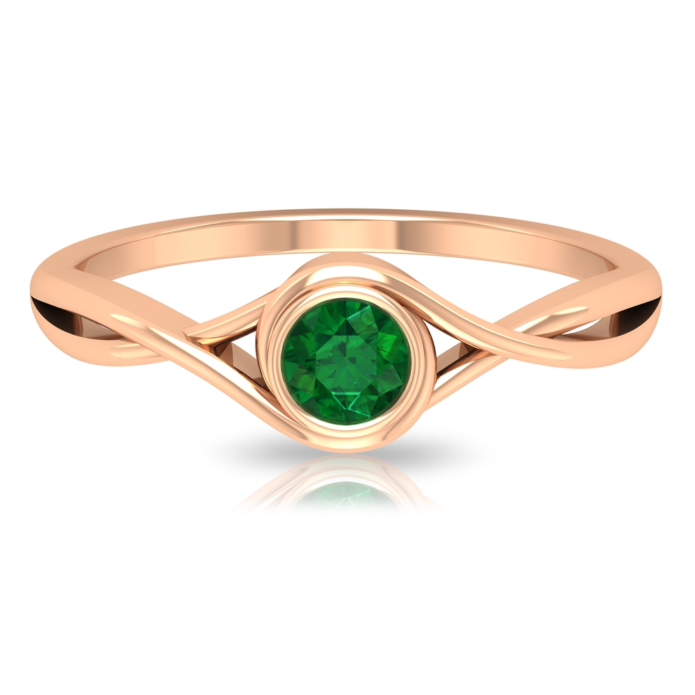 4 MM Round Cut Emerald Solitaire Ring In Bezel Setting with Crossover Shank