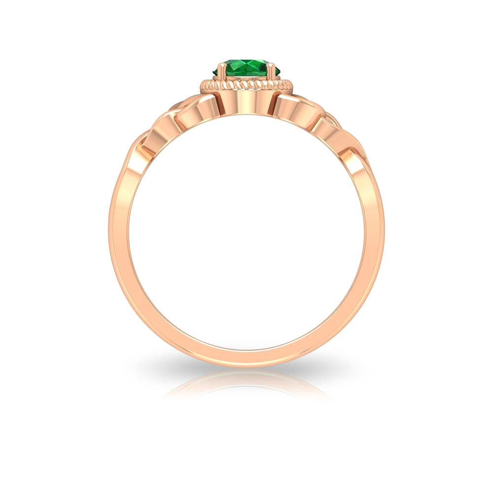 5 MM Round Cut Solitaire Emerald Celtic Ring with Rope Frame