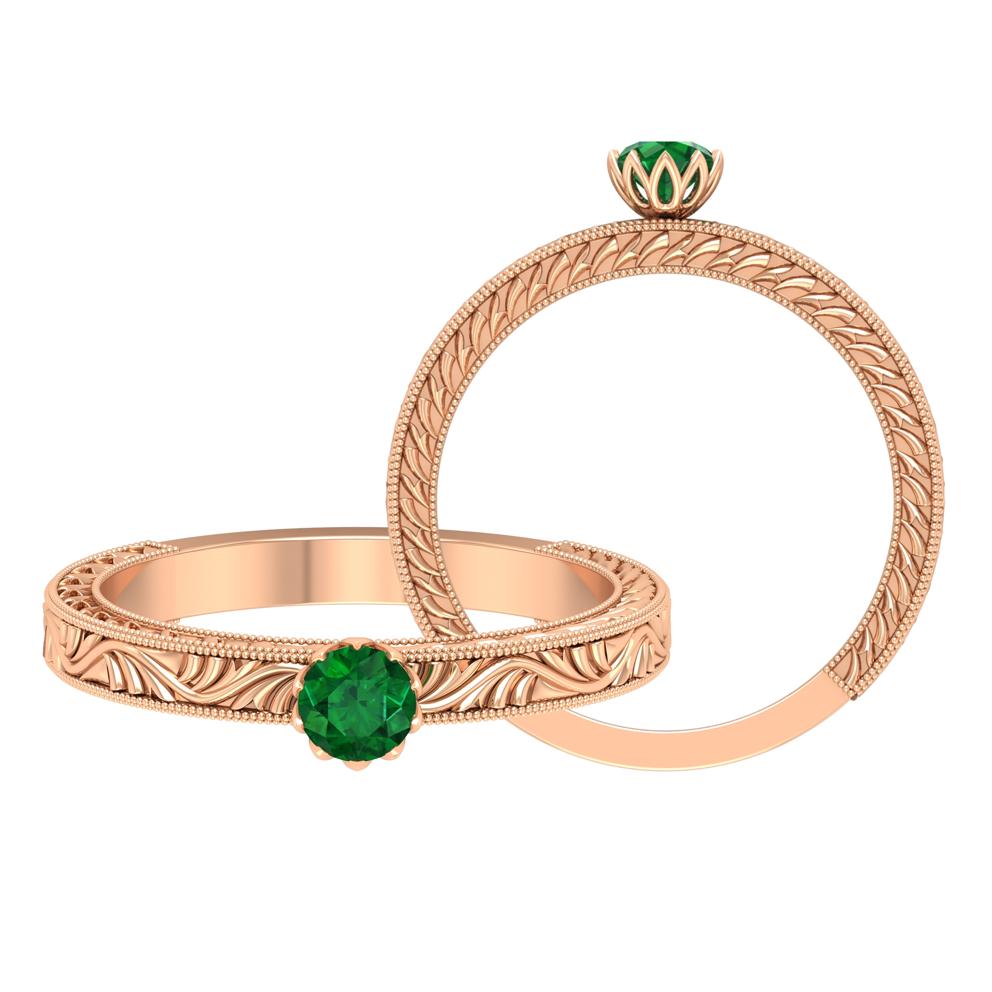 4 MM Round Cut Emerald Solitaire and Gold Engraved Ring