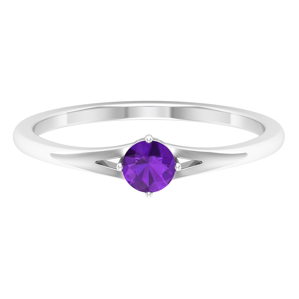 4 MM Round Shape Solitaire Amethyst Split Shank Ring in 4 Prong Diagonal Setting