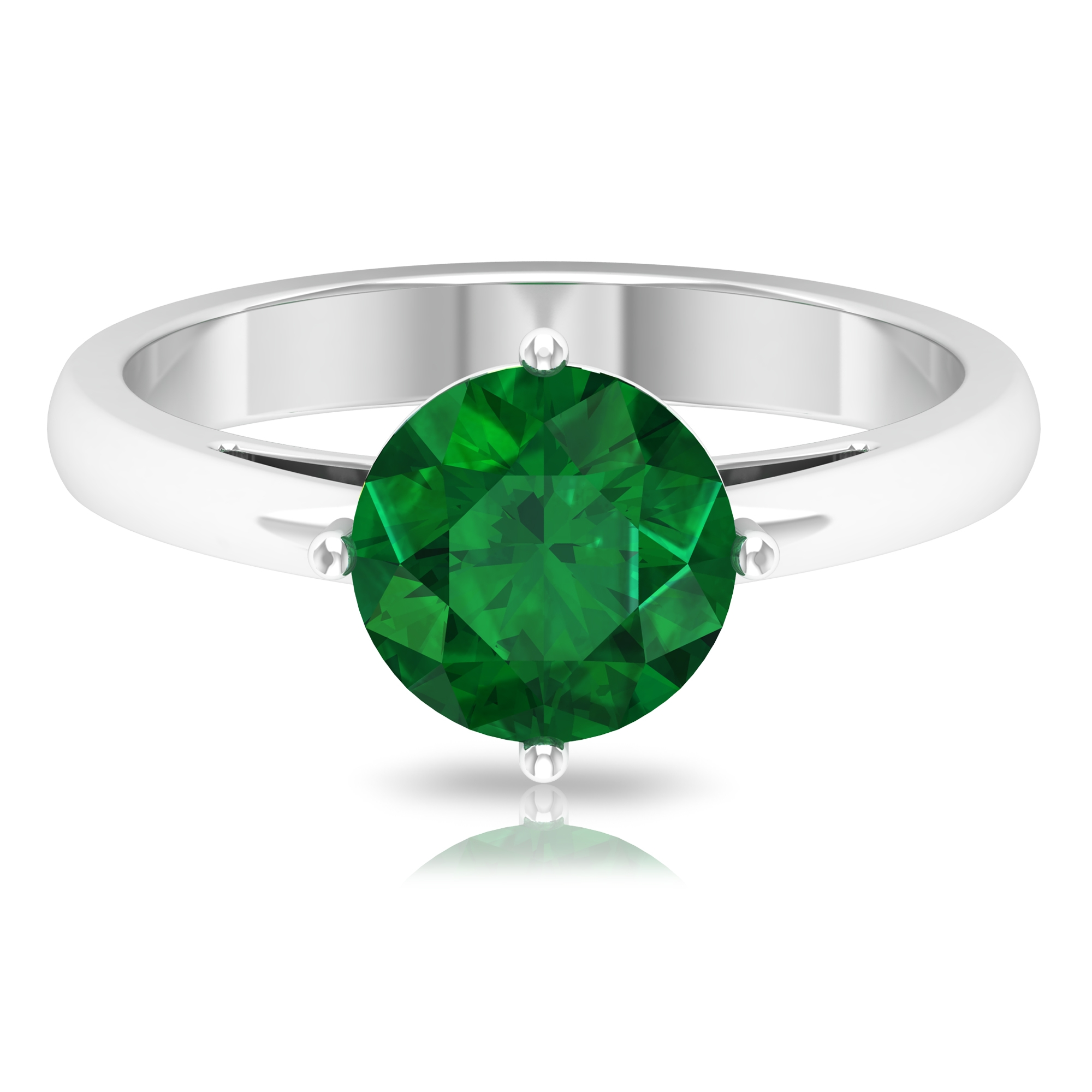 May Birthstone 8 MM Four Prong Diagonal Set Round Cut Emerald Solitaire Ring