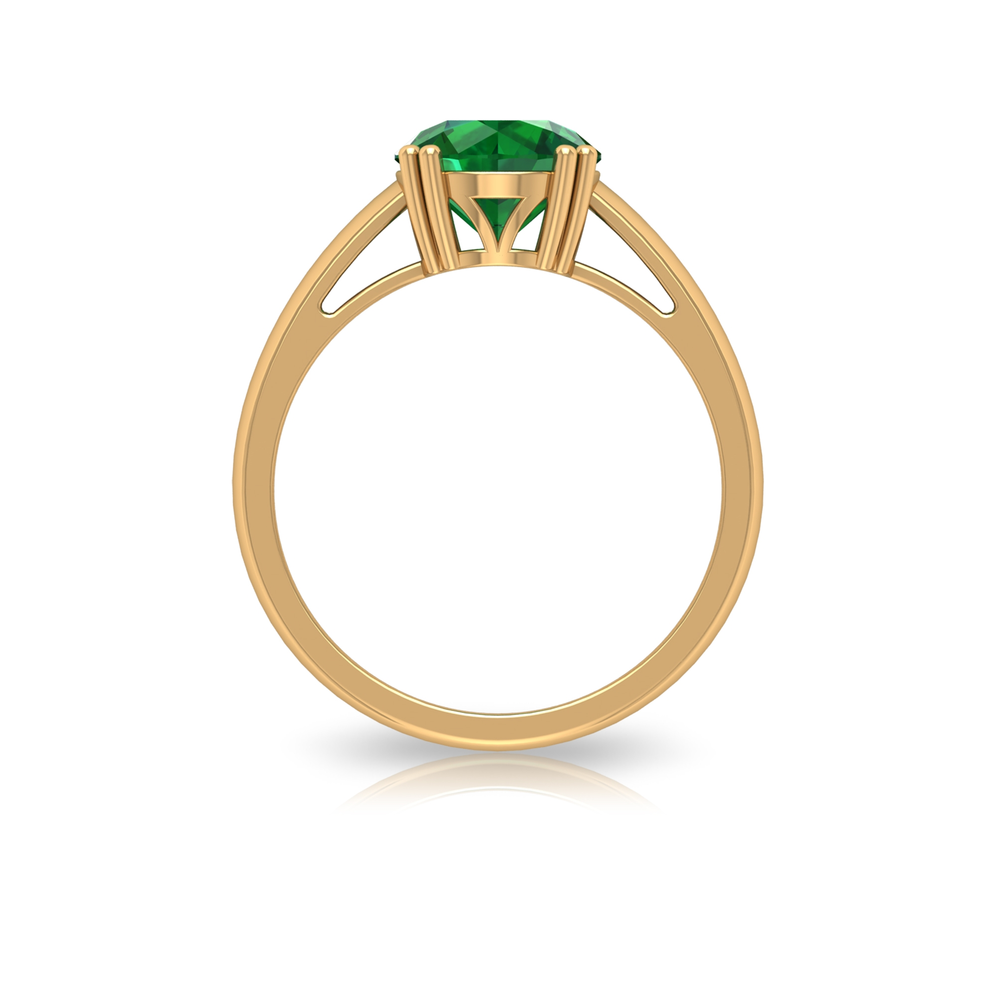 8 MM Double Prong Set Round Cut Emerald Solitaire Ring