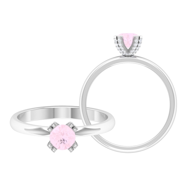 1/2 CT Solitaire Rose Quartz and Diamond Engagement Ring in Double Prong Setting