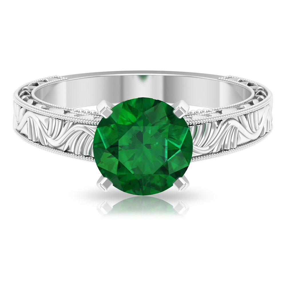 May Birthstone 8 MM Four Prong Peg Head Set Round Cut Emerald Solitaire Engraved Ring