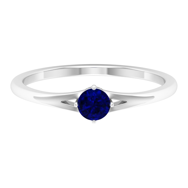 4 MM Round Shape Solitaire Blue Sapphire Split Shank Ring in 4 Prong Diagonal Setting