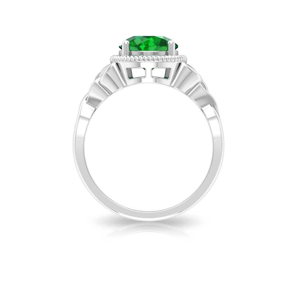 8 MM Rope Frame Round Cut Emerald Solitaire Celtic Ring
