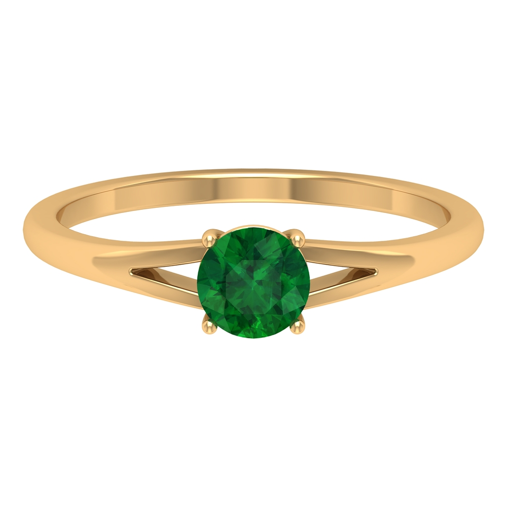 5 MM Round Cut Emerald Solitaire Ring in Four Prong Setting with Split Shank