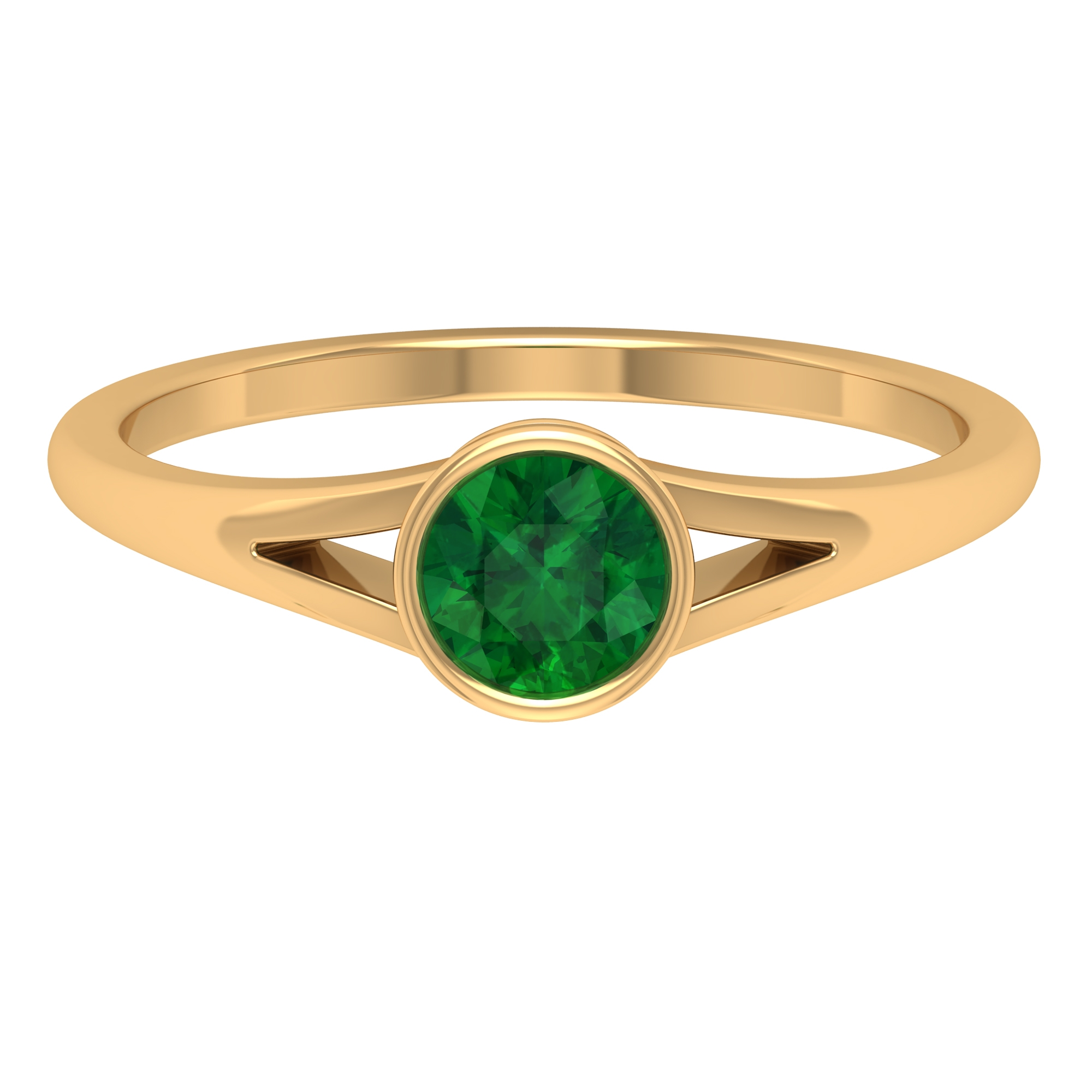 5 MM Round Cut Emerald Solitaire Ring in Bezel Setting with Split Shank