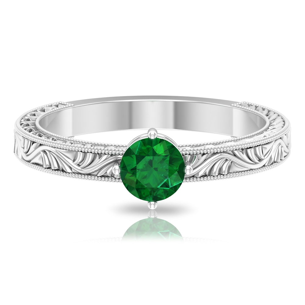 5 MM Round Cut Emerald Solitaire and Gold Engraved Ring in Four Prong Diagonal Setting