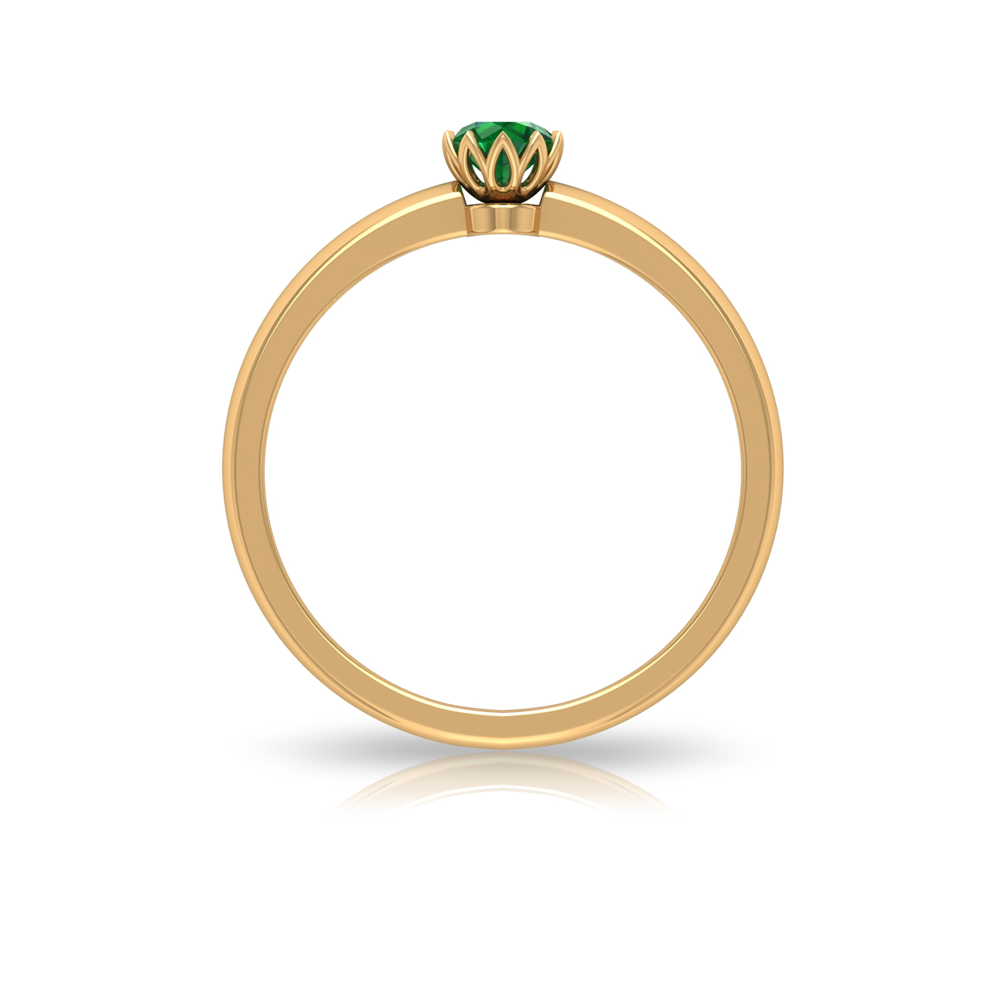4 MM Round Cut Emerald Solitaire Ring in Lotus Basket Setting