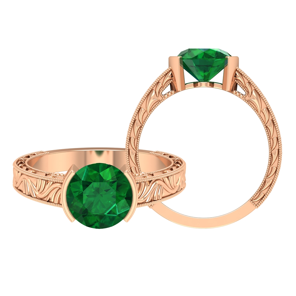 May Birthstone 8 MM Half Bezel Set Round Cut Emerald Solitaire Engraved Ring