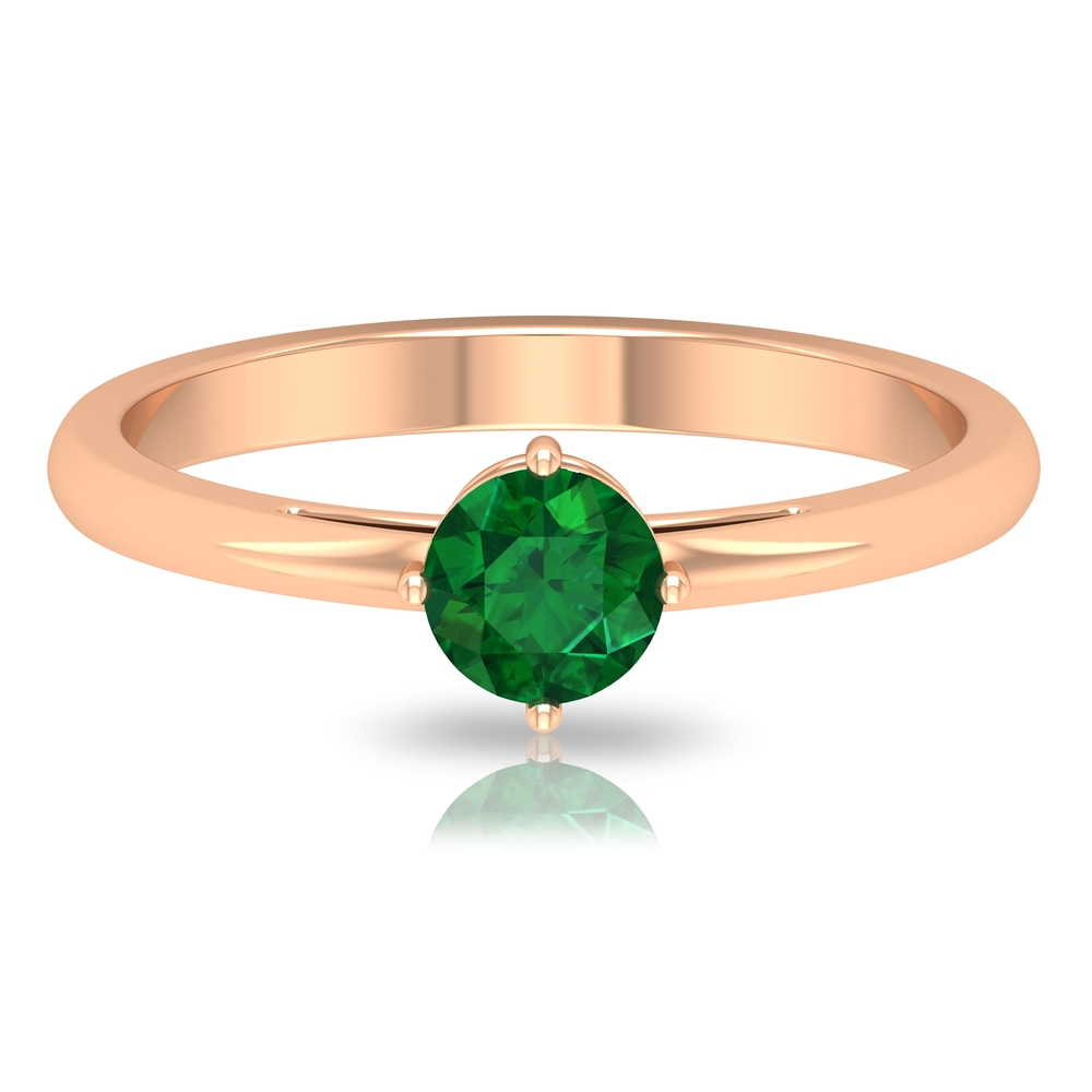 5 MM Round Cut Emerald Solitaire Ring in 4 Prong Diagonal Setting