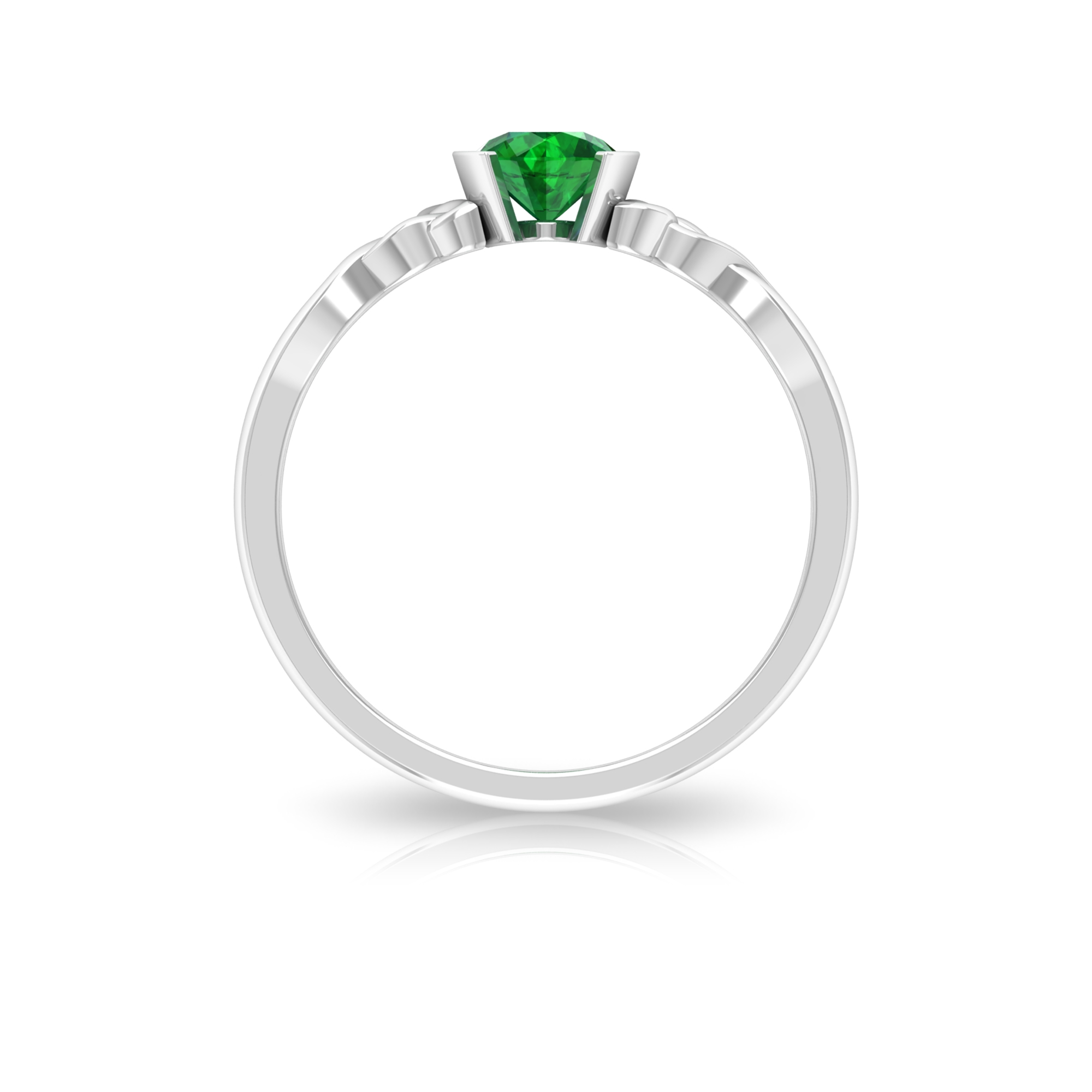 5 MM Round Cut Solitaire Emerald Celtic Ring in Half Bezel Setting
