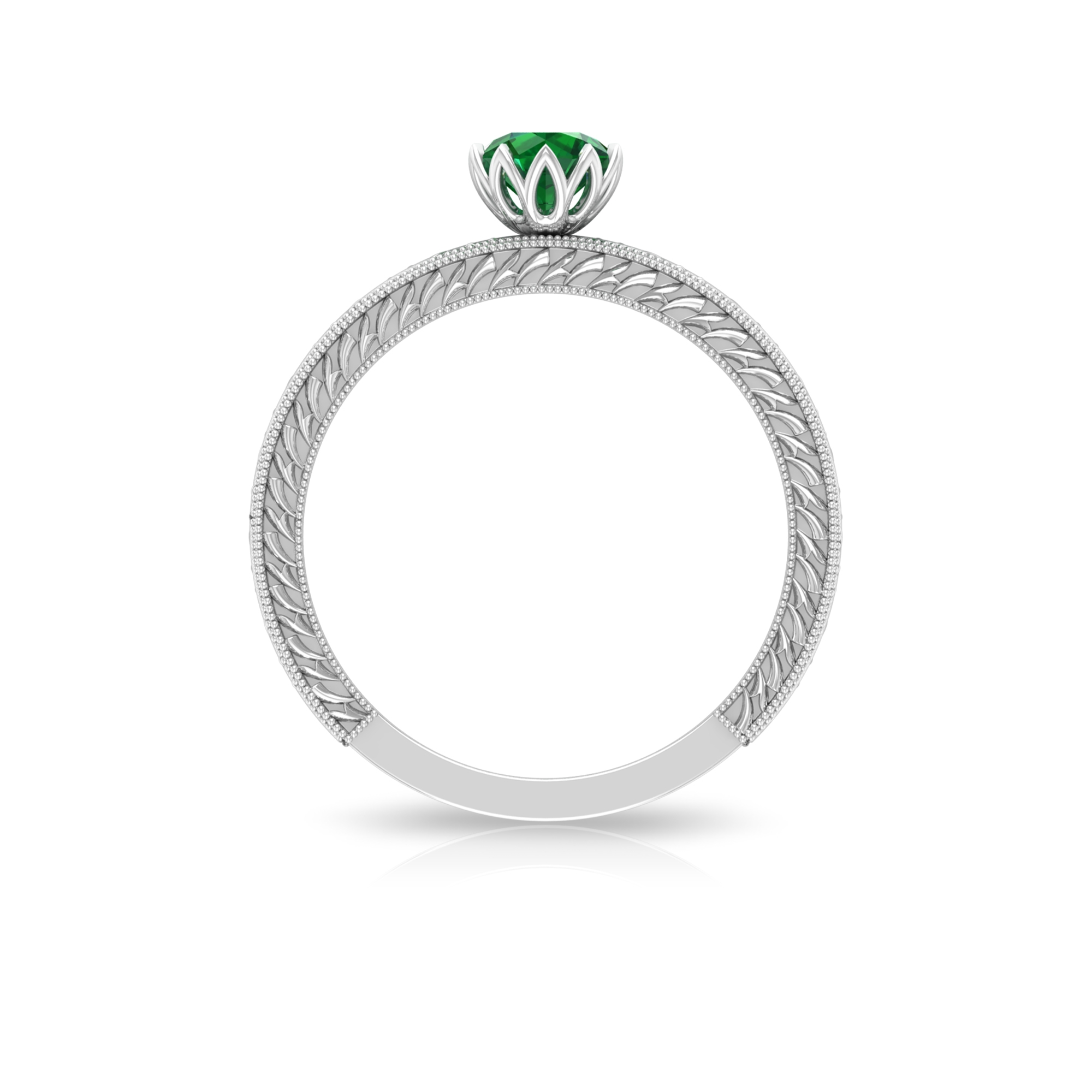 5 MM Round Cut Emerald Solitaire and Gold Engraved Ring in Lotus Basket Setting
