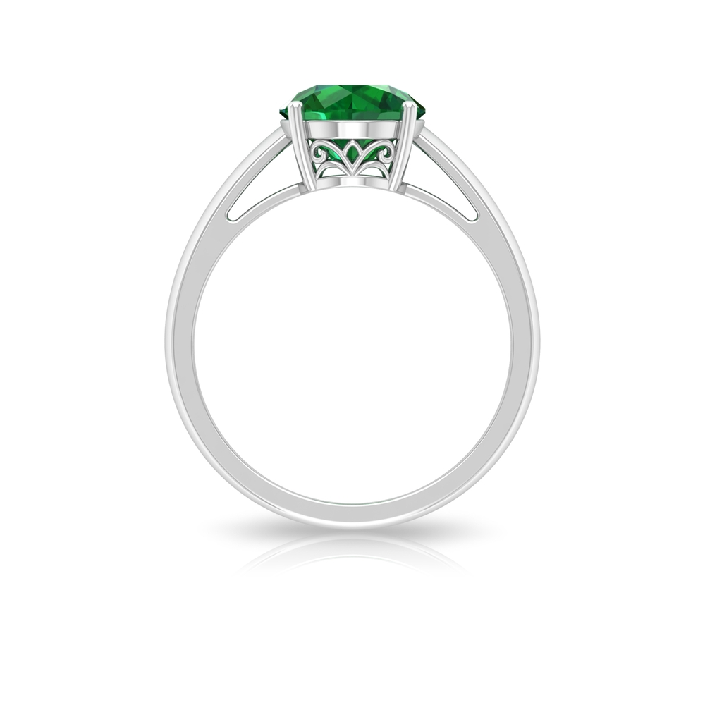 May Birthstone 8 MM Four Prong Set Round Cut Emerald Solitaire Ring