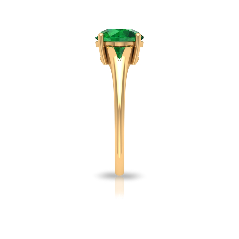 8 MM Four Prong Set Round Cut Emerald Solitaire Split Shank Ring