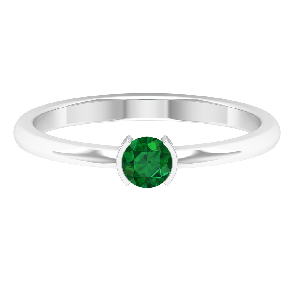 4 MM Round Cut Emerald Solitaire Ring in Half Bezel Setting