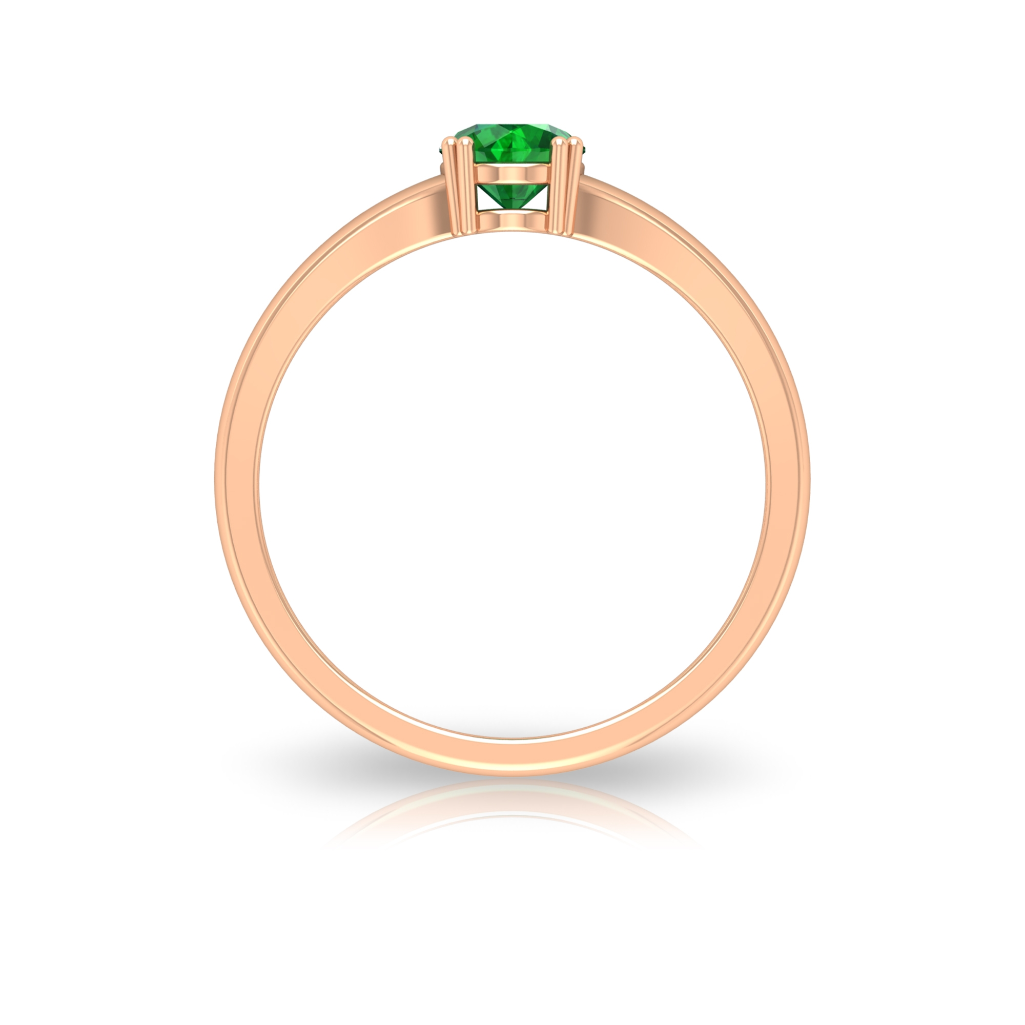 5 MM Round Cut Emerald Solitaire Ring in Double Prong Setting with Split Shank
