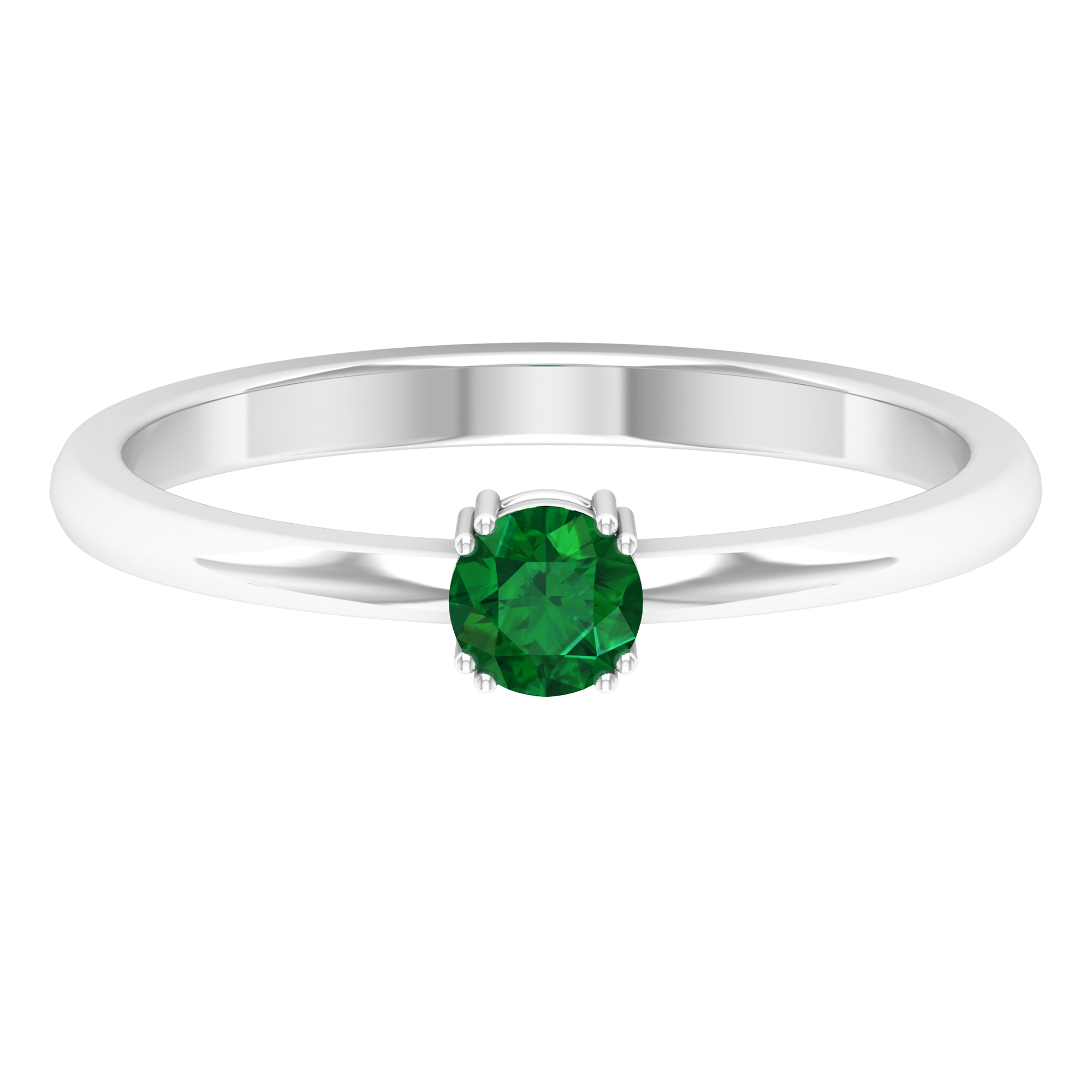 4 MM Round Cut Emerald Solitaire Ring in Double Prong Setting