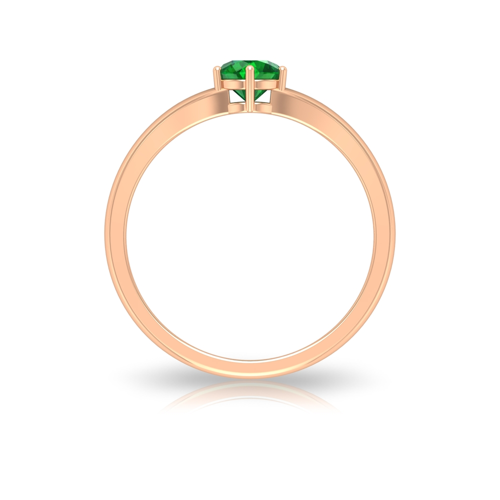 5 MM Round Cut Emerald Solitaire Ring in Six Prong Setting with Split Shank