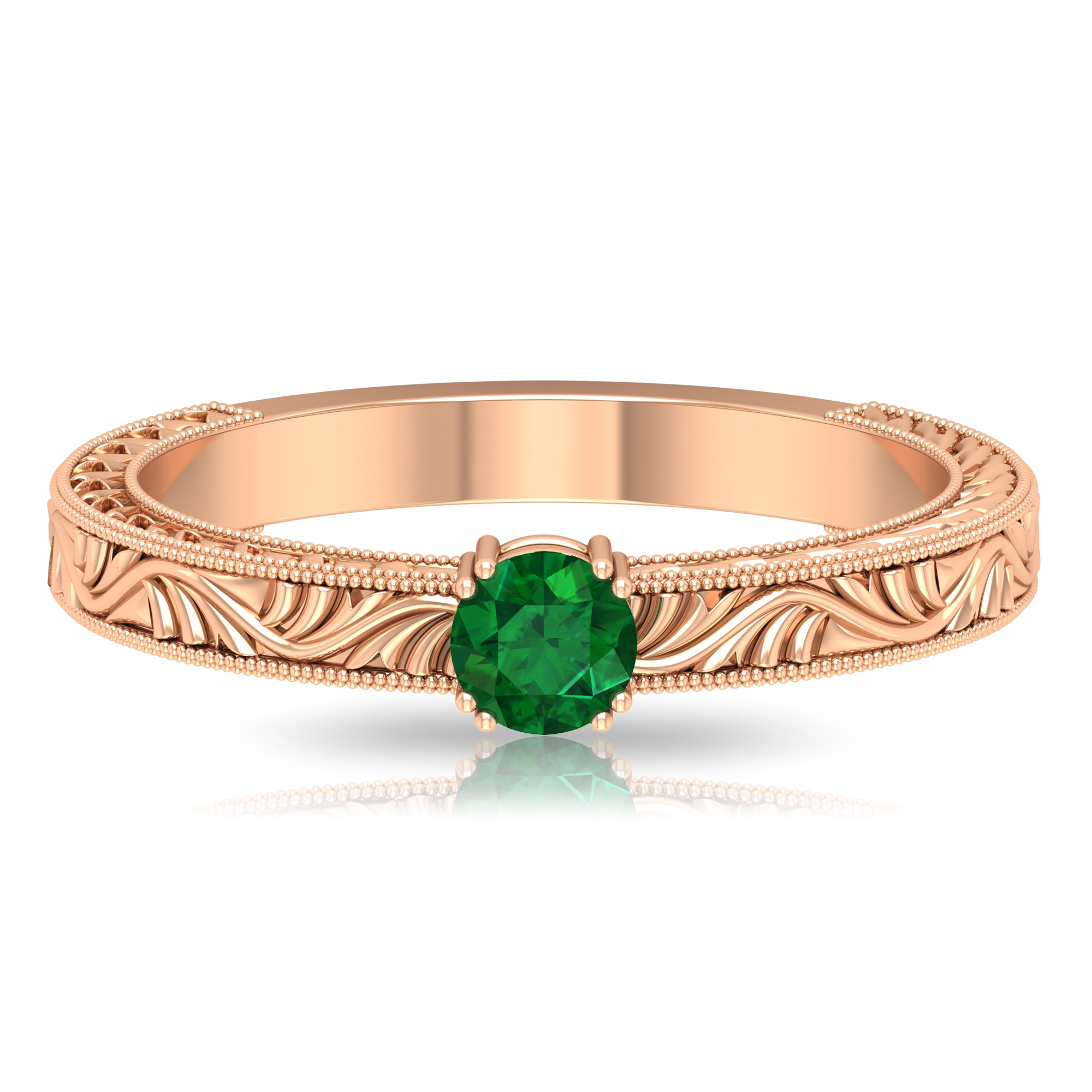 4 MM Round Cut Emerald Solitaire and Gold Engraved Ring in Double Prong Setting