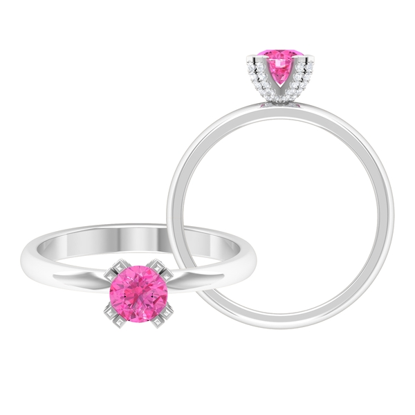 5 MM Double Prong Set Round Pink Sapphire Solitaire Engagement Ring with Diamond Accents