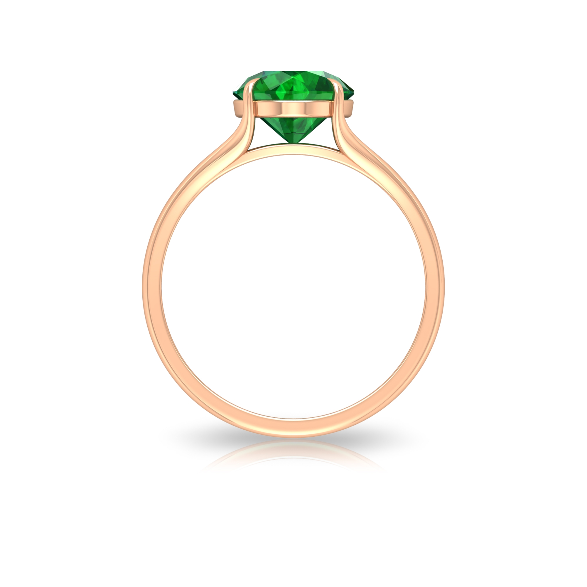 8 MM Claw Set Round Cut Emerald Solitaire Split Shank Ring