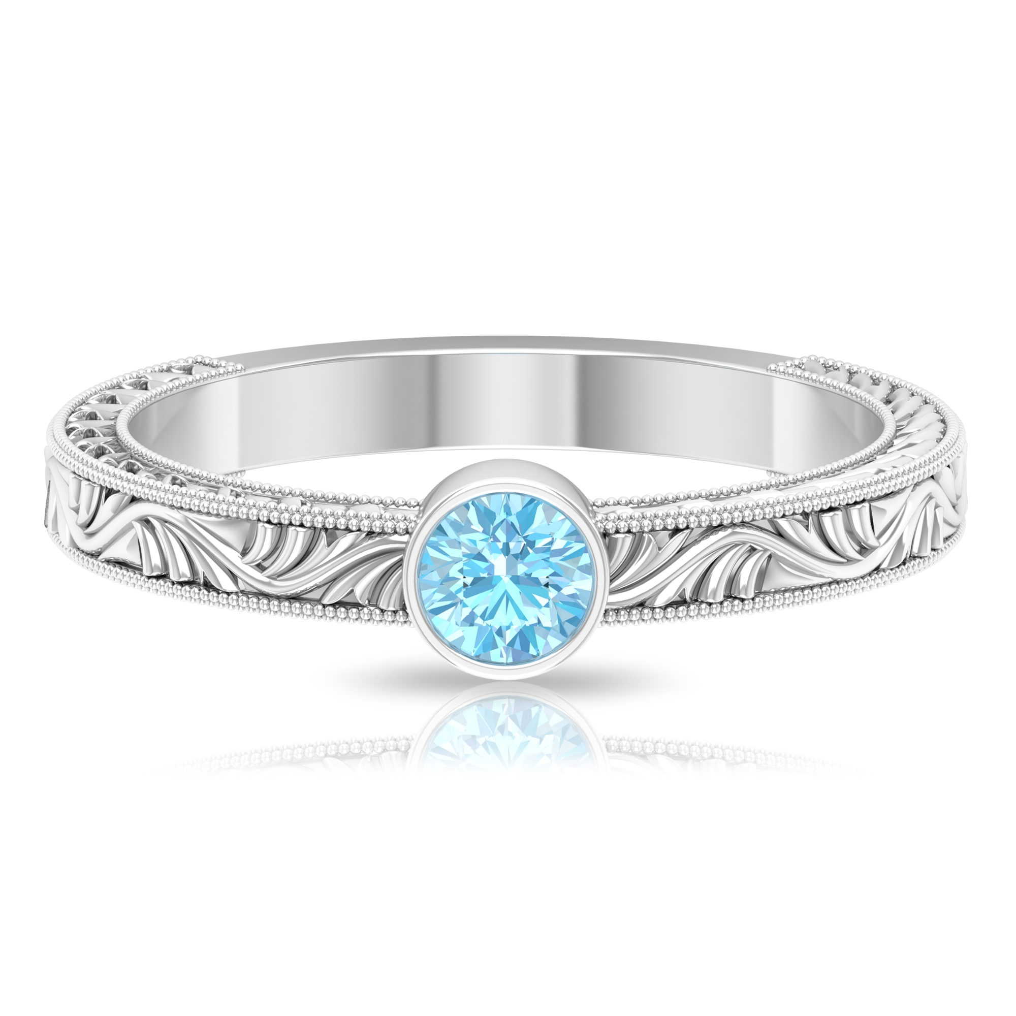 4 MM Round Shape Aquamarine Solitaire Ring in Bezel Setting with Gold Milgrain Engraved Details