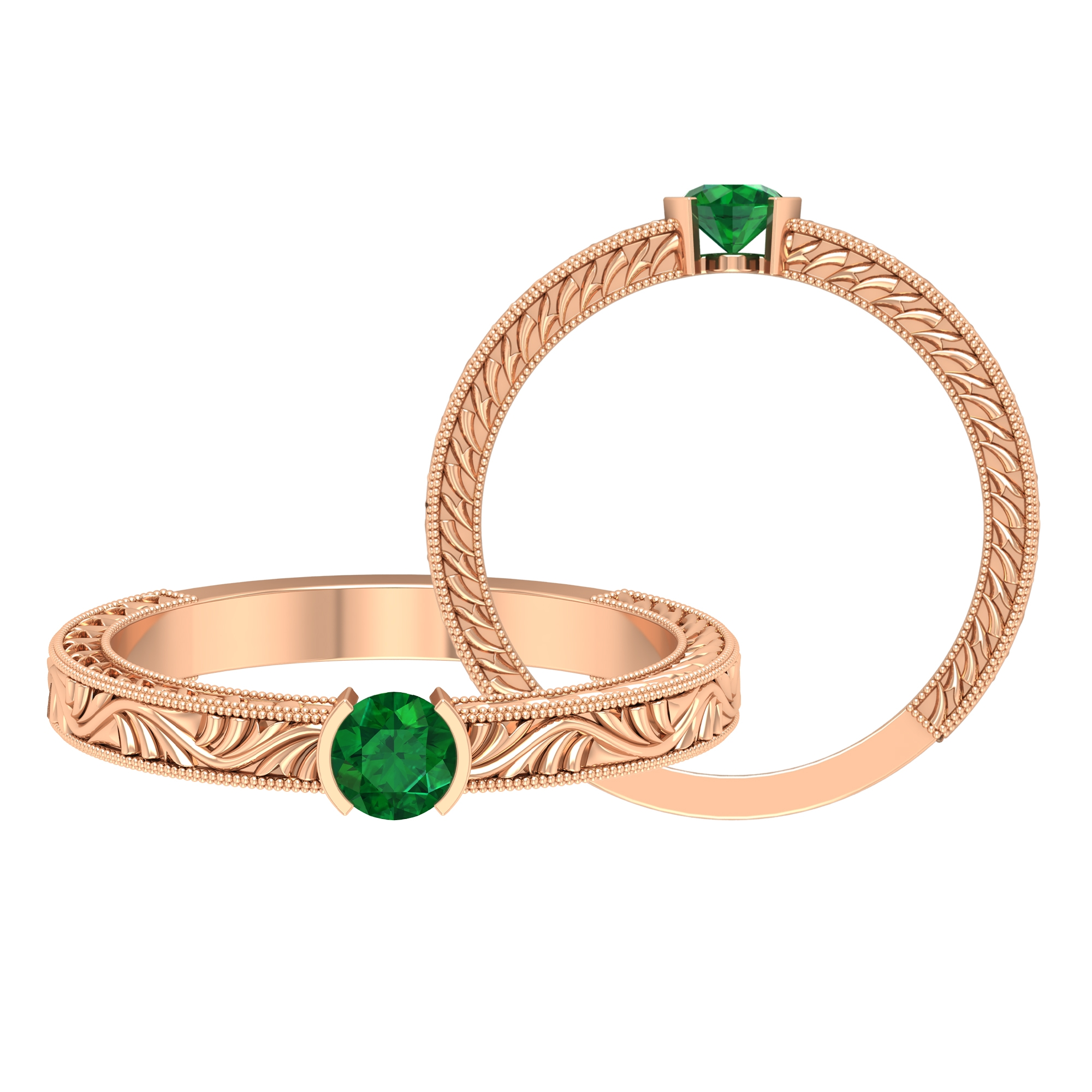 4 MM Round Cut Emerald Solitaire and Gold Engraved Ring in Half Bezel Setting