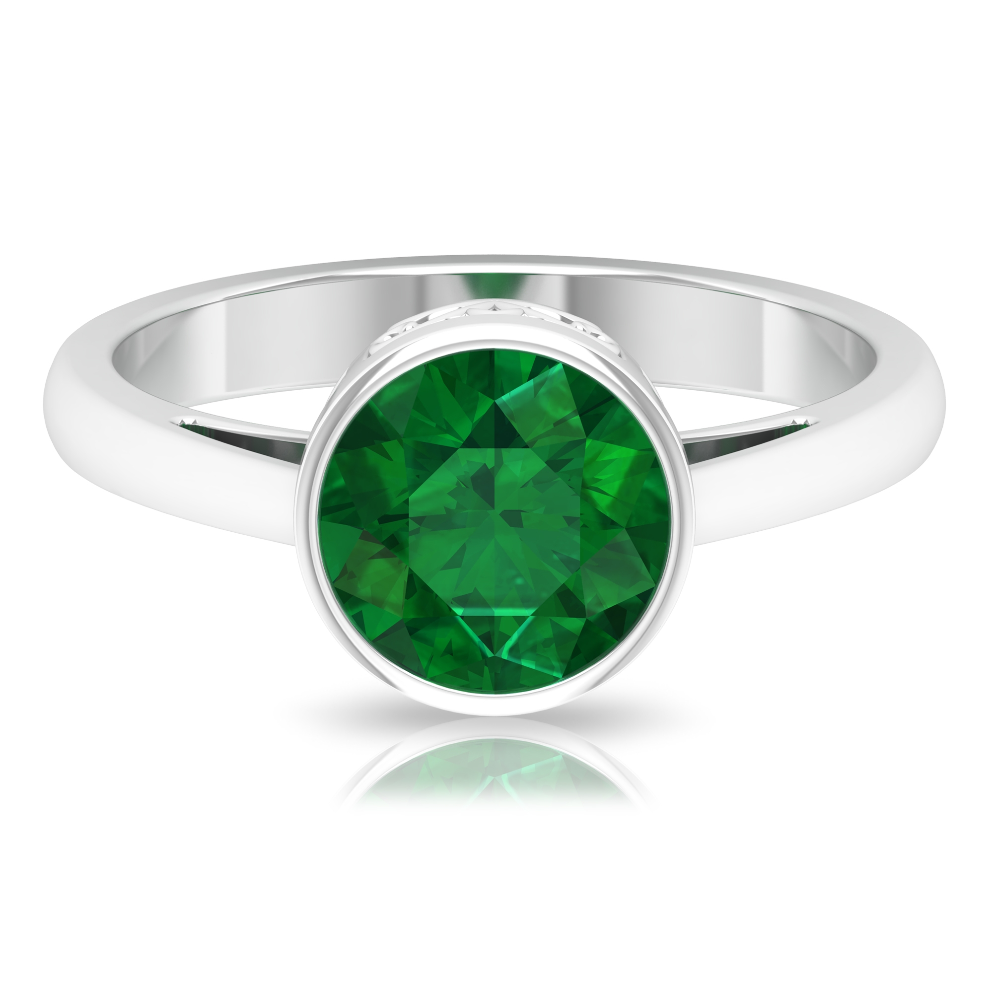 May Birthstone 8 MM Bezel Set Round Cut Emerald Solitaire Crown Ring