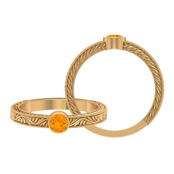 4 MM Round Shape Orange Sapphire Solitaire Ring in Bezel Setting with Gold Milgrain Engraved Details