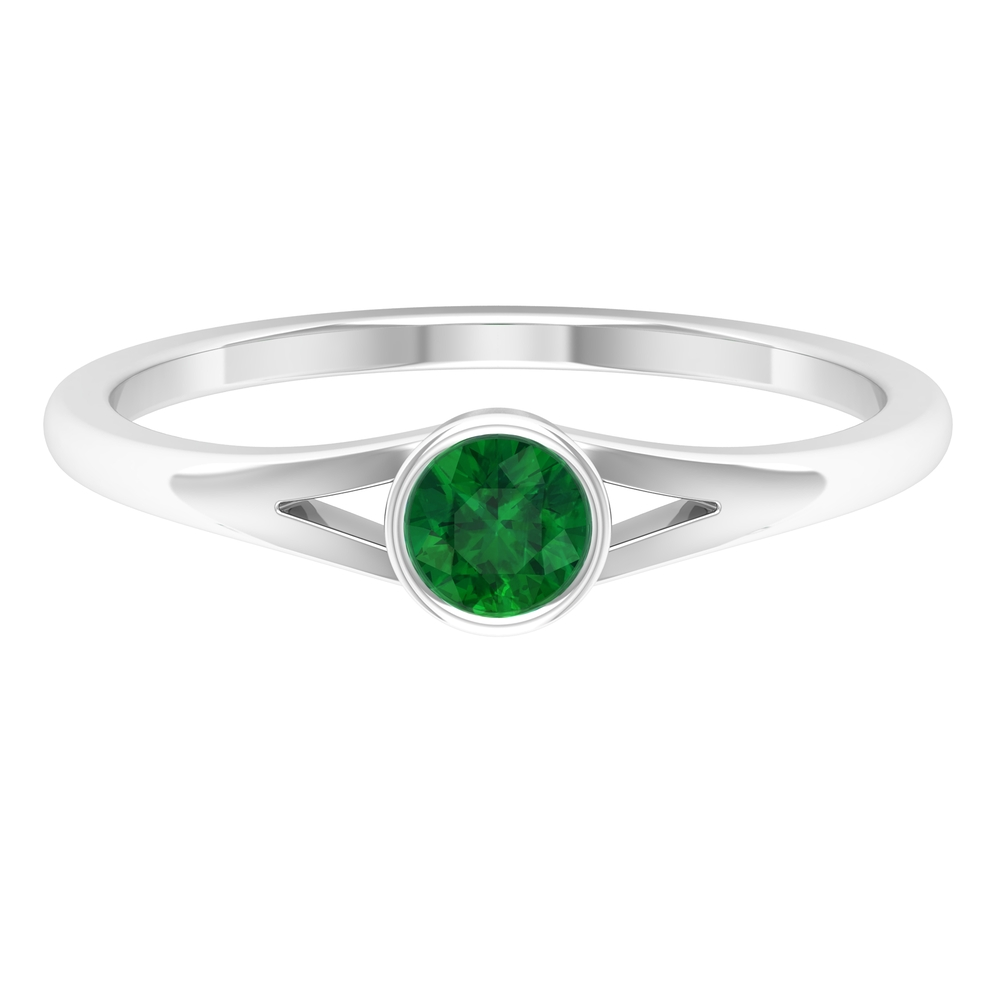4 MM Round Cut Emerald Solitaire Ring in Bezel Setting with Split Shank