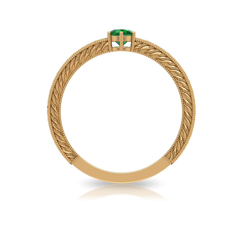 4 MM Round Cut Emerald Solitaire and Gold Engraved Ring in Six Prong Setting