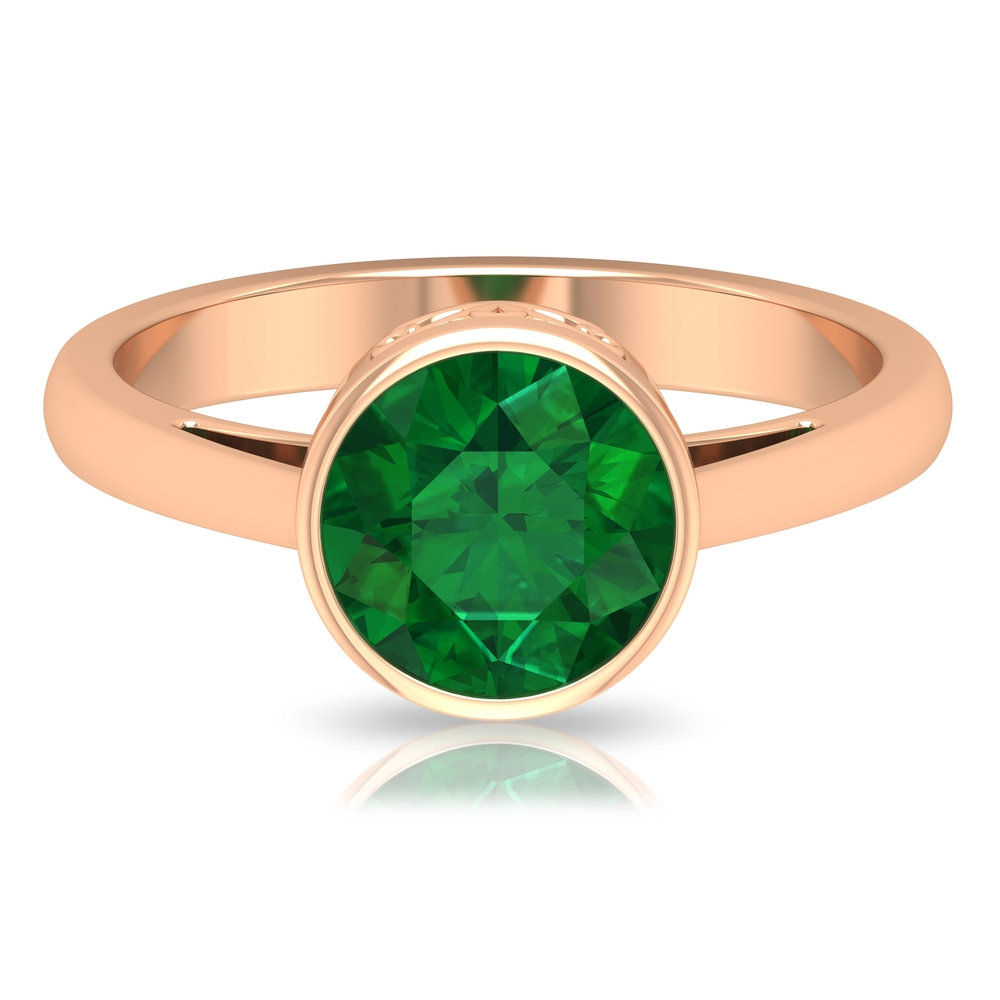 4 MM Round Shape Emerald Solitaire Ring in Four Prong Setting with Crossover Shank