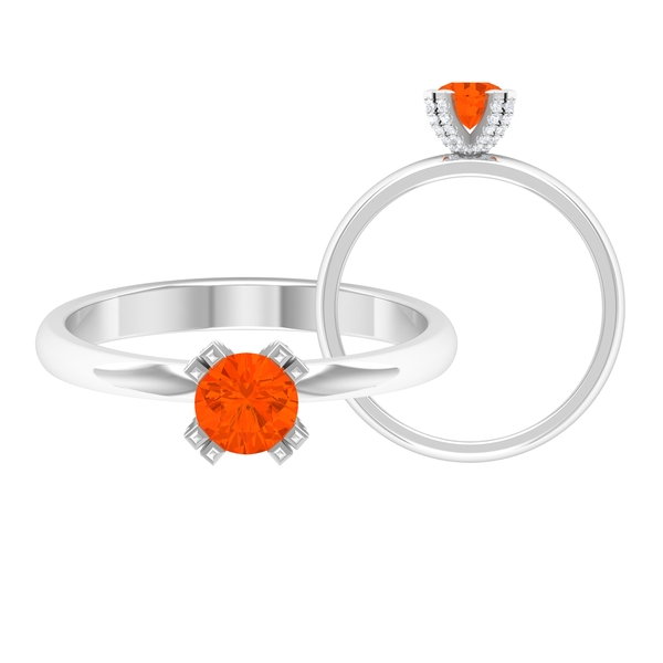 1/4 CT Fire Opal Solitaire Engagement Ring in Double Prong Setting with White Diamond