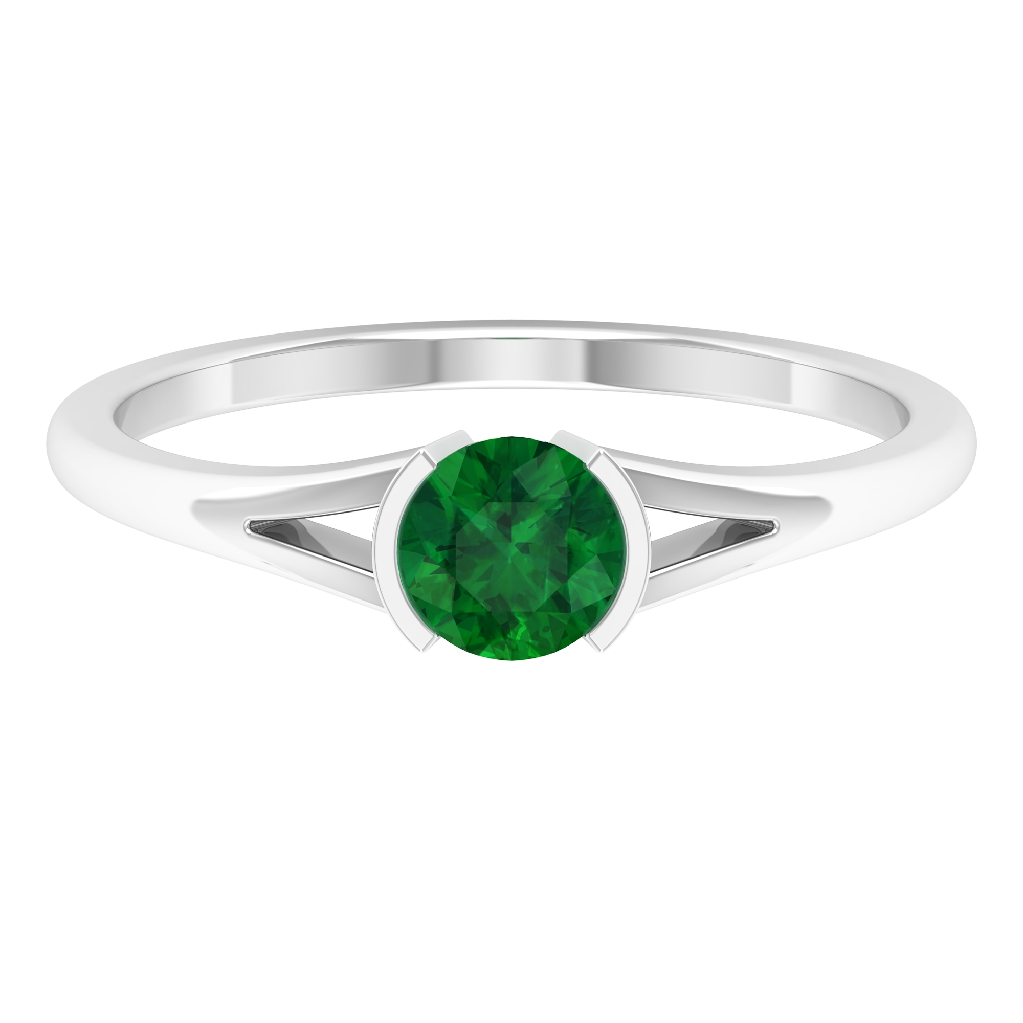 5 MM Round Cut Emerald Solitaire Ring in Half Bezel Setting with Split Shank