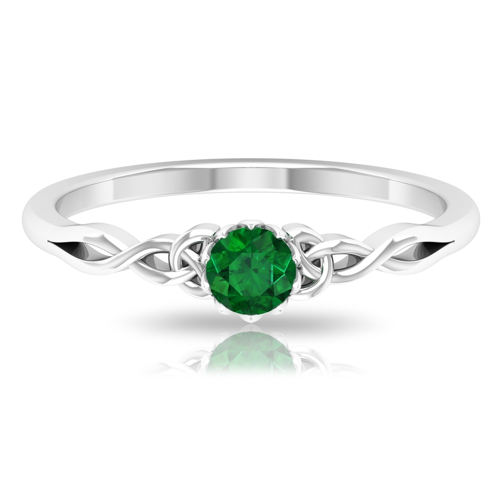 4 MM Round Cut Solitaire Emerald Celtic Ring in Lotus Basket Setting
