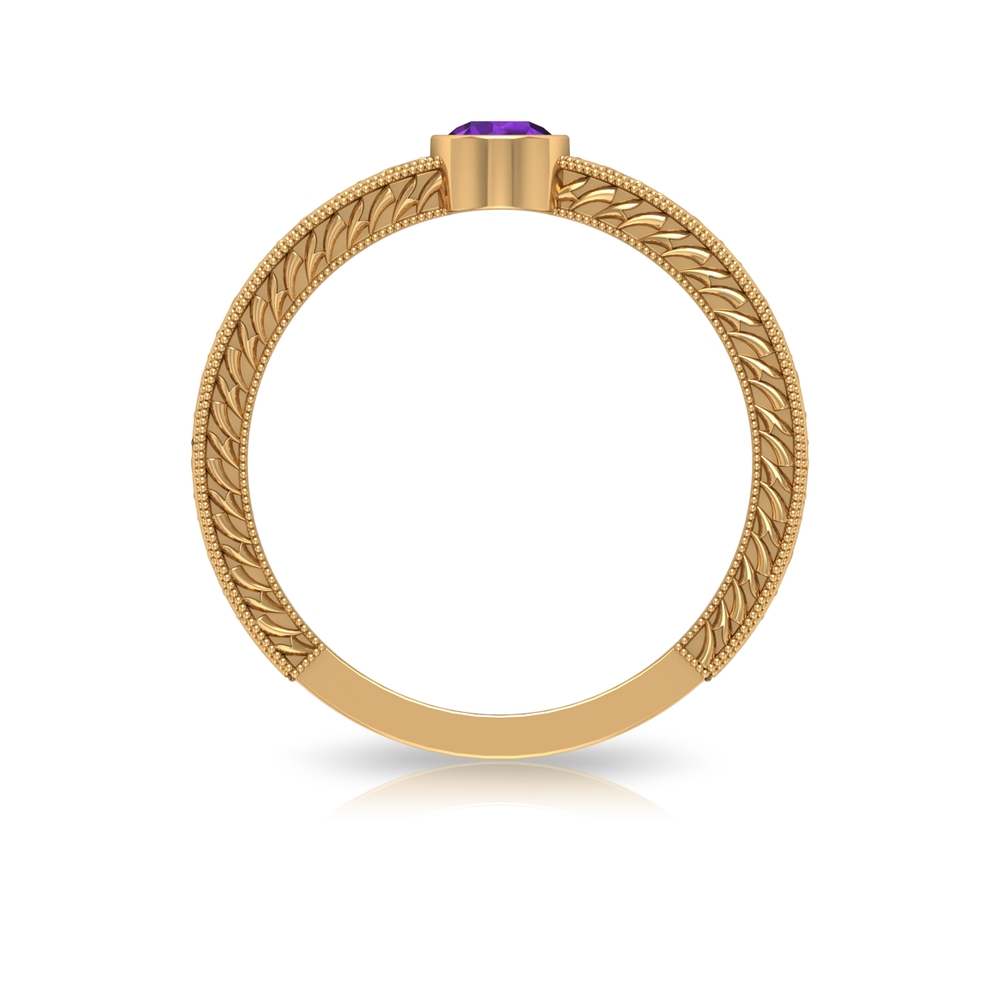 4 MM Round Shape Amethyst Solitaire Ring in Bezel Setting with Gold Milgrain Engraved Details