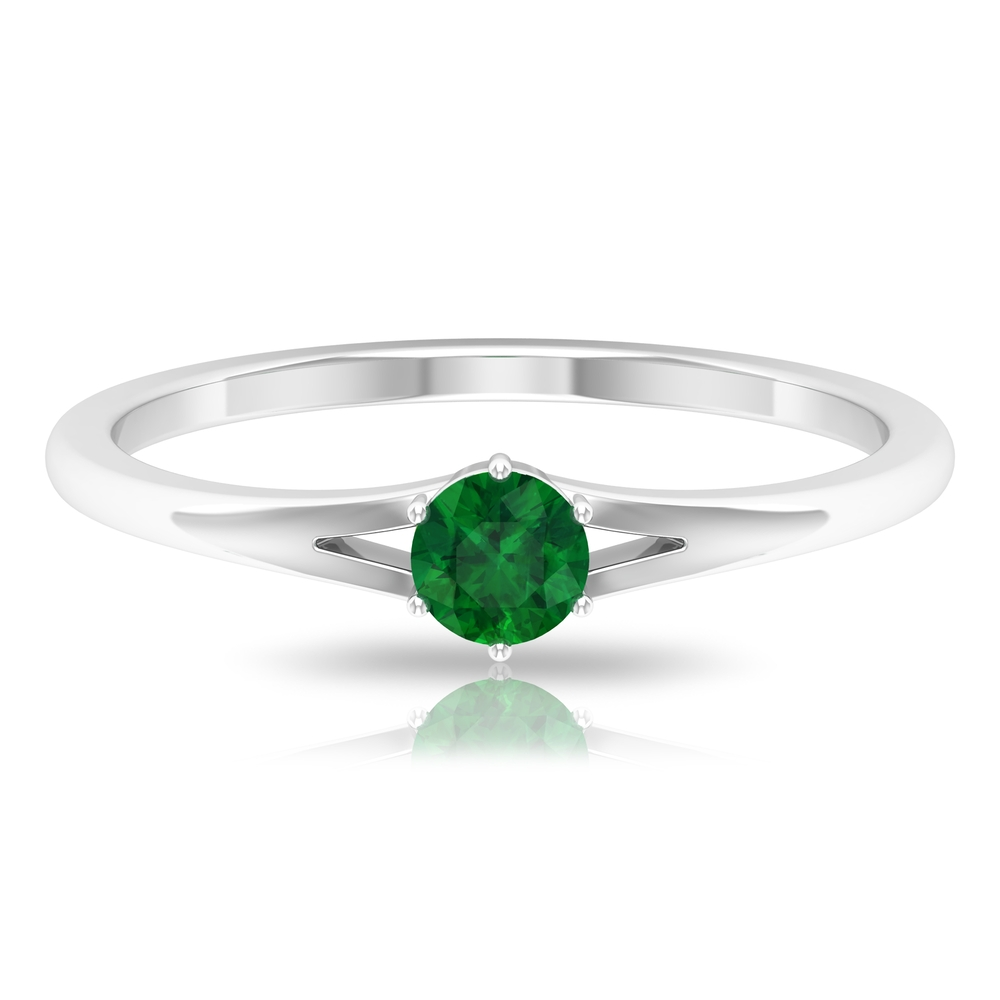 4 MM Round Cut Emerald Solitaire Ring in Six Prong Setting with Split Shank