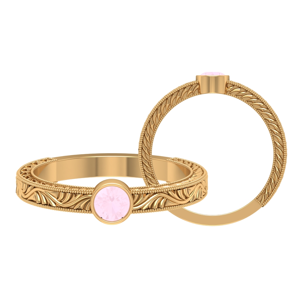 4 MM Round Shape Rose Quartz Solitaire Ring in Bezel Setting with Gold Milgrain Engraved Details