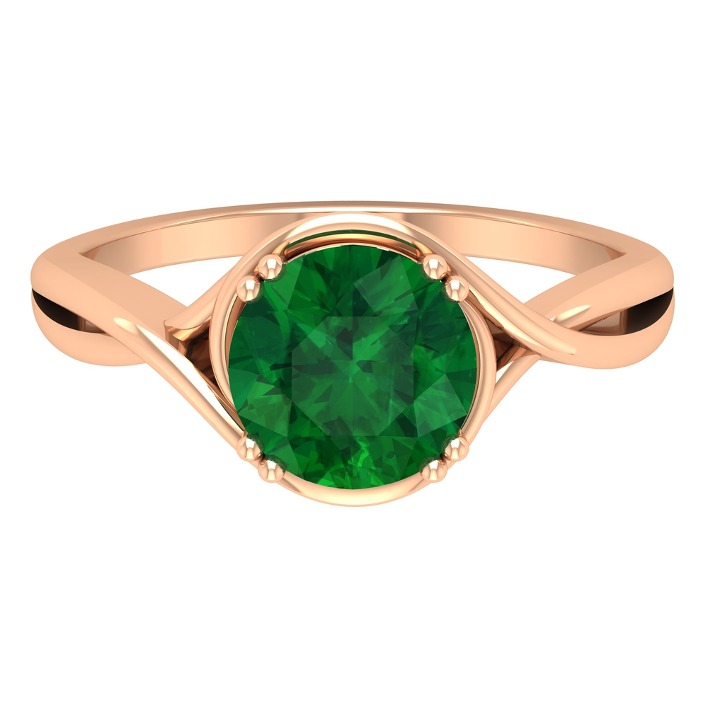 8 MM Double Prong Set Round Cut Emerald Solitaire Crossover Ring