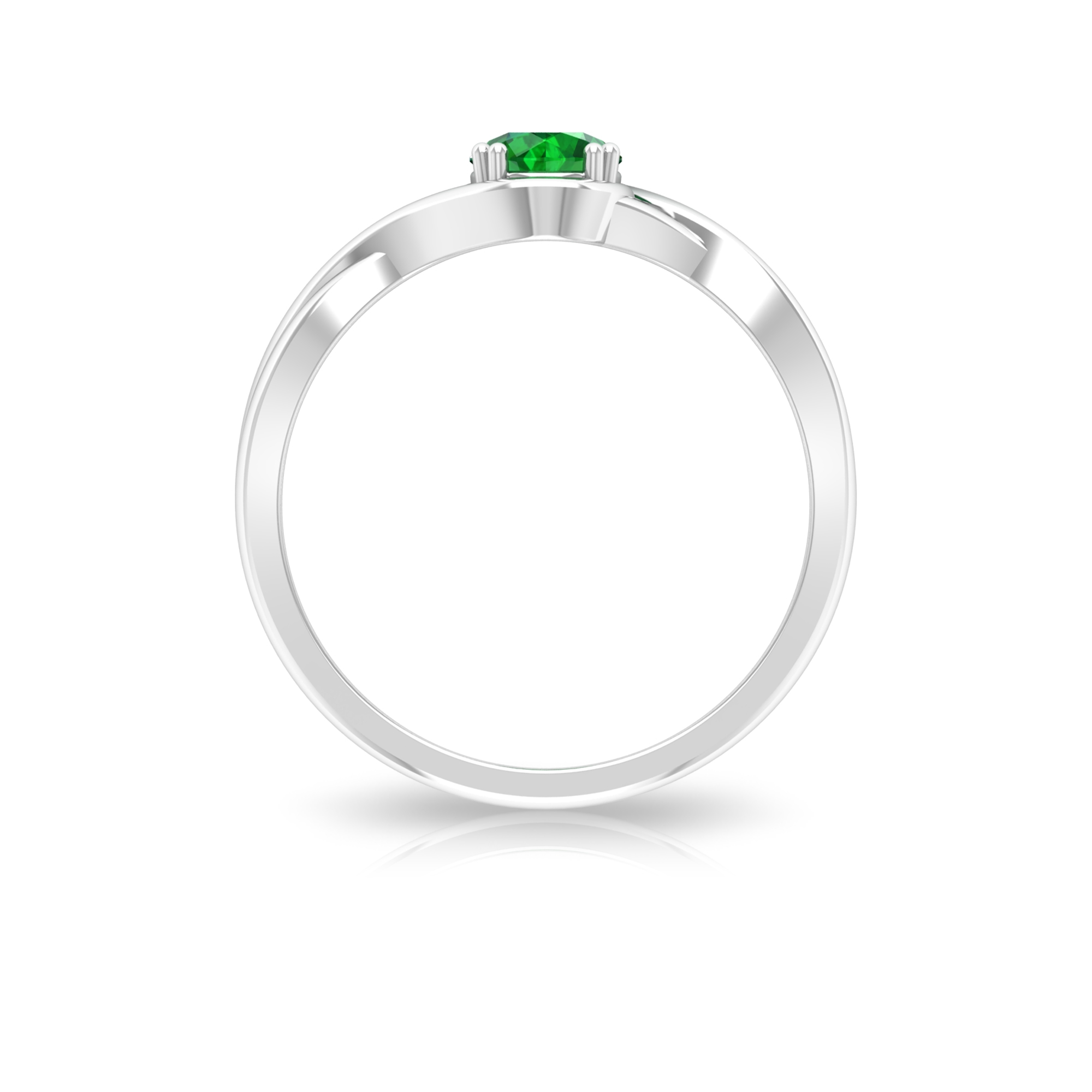 5 MM Round Shape Emerald Solitaire Ring in Double Prong Setting with Crossover Shank