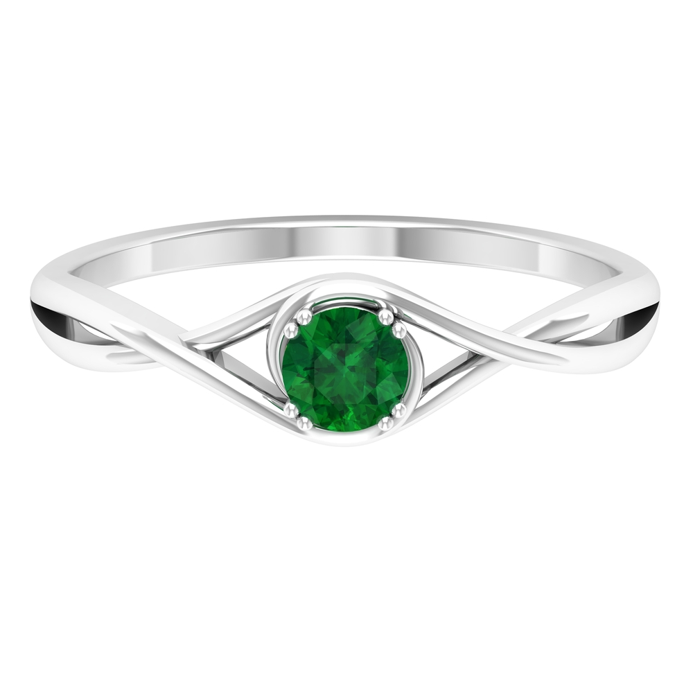 4 MM Round Cut Solitaire Emerald Ring in Double Prong Setting with Crossover Shank
