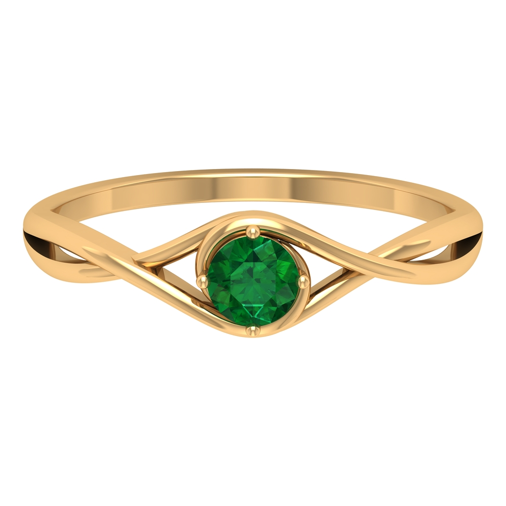 4 MM Round Cut Solitaire Emerald Ring in 4 Prong Diagonal Setting with Crossover Shank