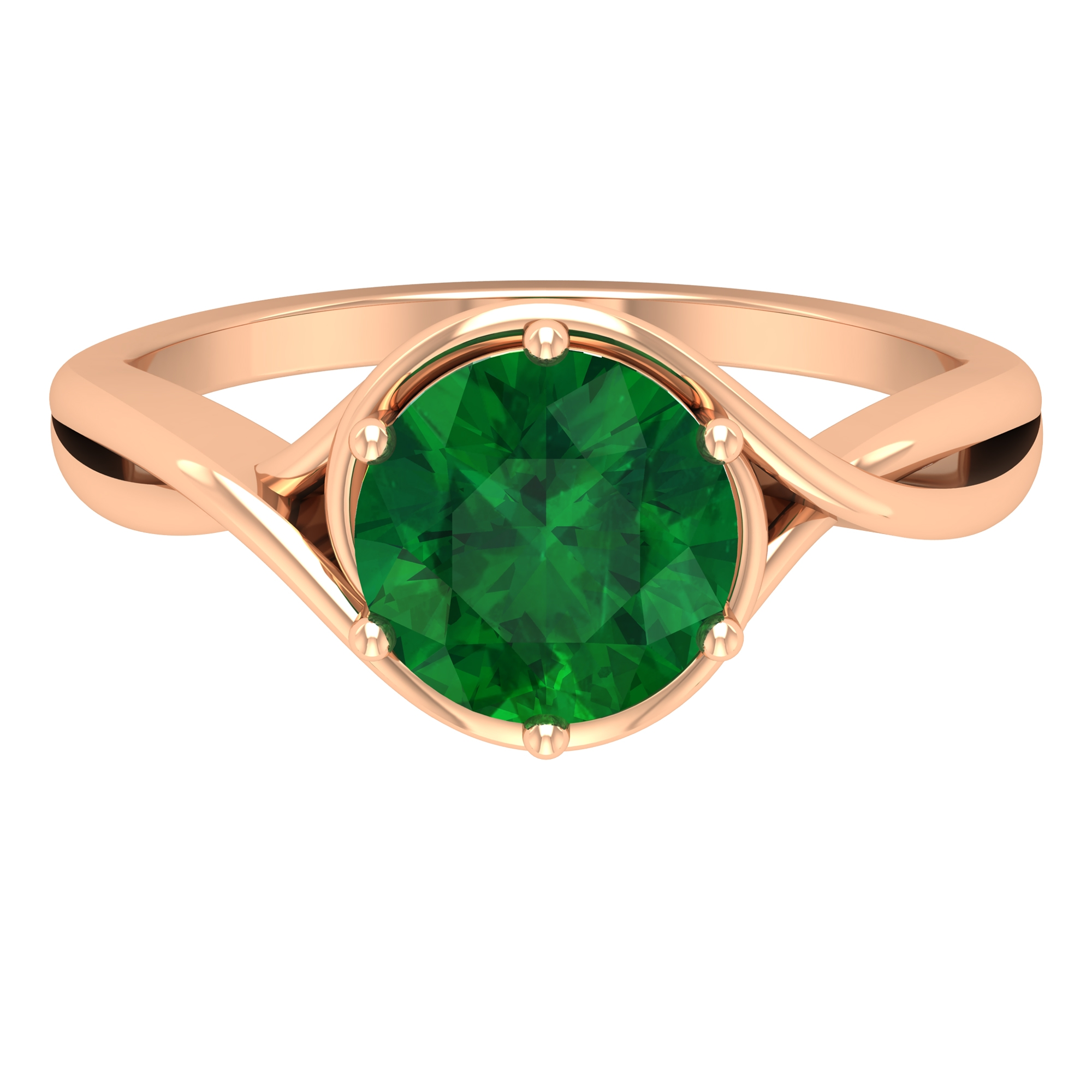 8 MM Six Prong Set Round Cut Emerald Solitaire Crossover Ring