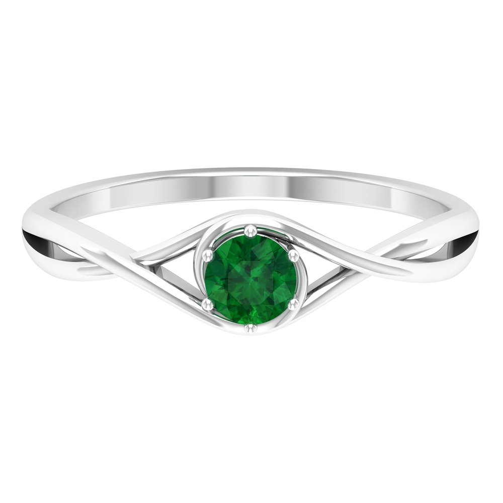4 MM Round Cut Solitaire Emerald Ring in 6 Prong Setting with Crossover Shank