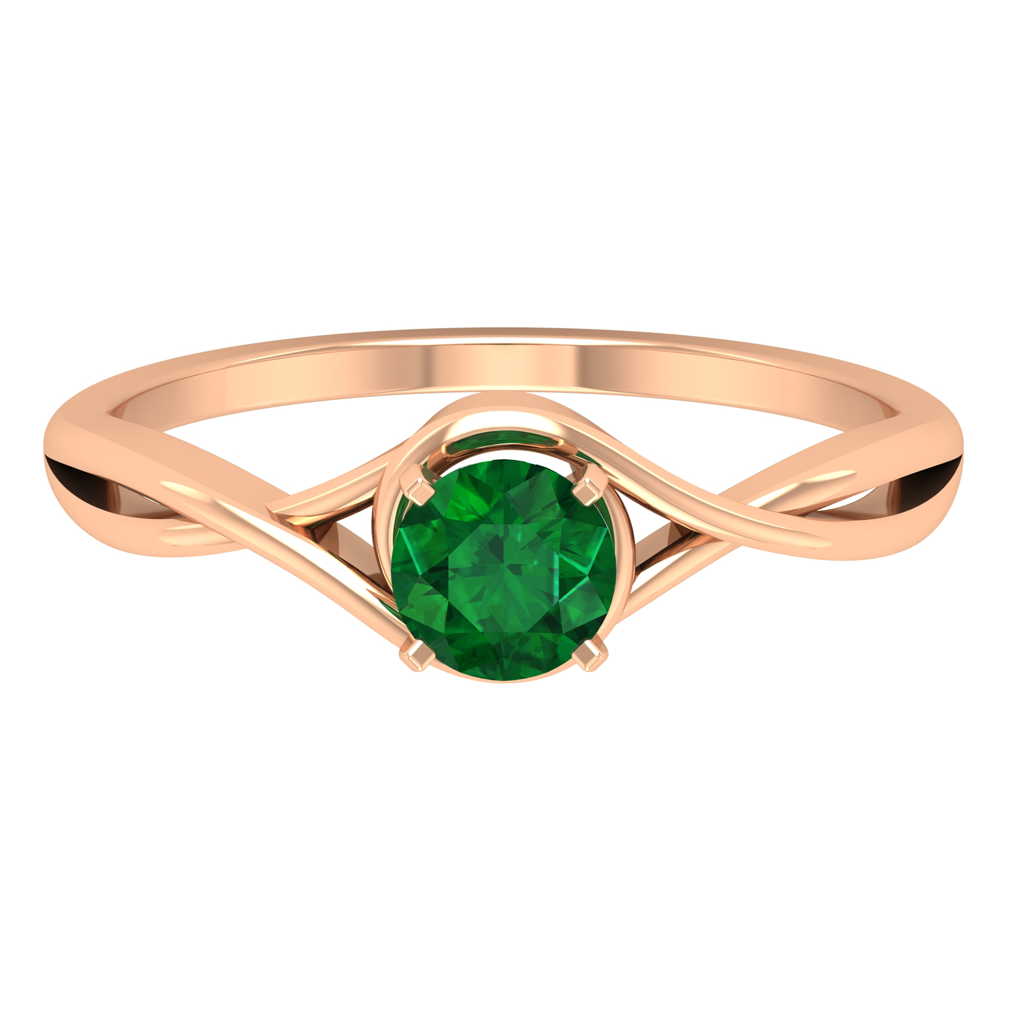 5 MM Round Cut Solitaire Emerald Ring in Square Prong Setting with Crossover Shank